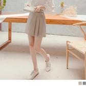《CA2253-》造型飾釦側打褶A字短裙 OB嚴選