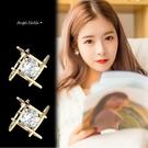 銀針耳環-S925簡約百搭菱形鋯石耳針 (SRA0166) AngelNaNa