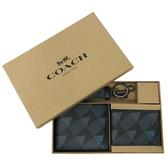 【COACH】男款幾何圖形活動證件夾短夾附鑰匙圈禮盒(藍黑)
