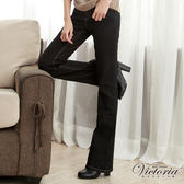 Victoria 中高腰貼鑽靴型褲-女-固色