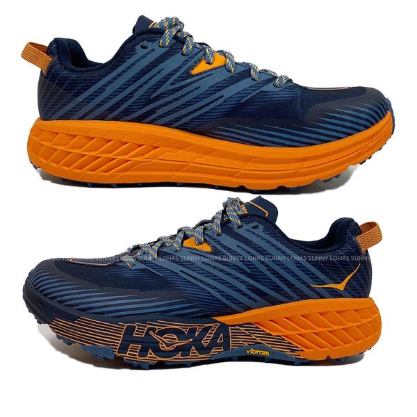 (C8)HOKA ONE ONE 男鞋 寬楦SPEEDGOAT 4 越野跑鞋 健行登山鞋HO1106528RTPO灰藍橘 [陽光樂活]