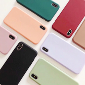 蘋果 XR XS i8 Plus XS MAX iX i7 Plus 純色手感殼 手機殼 全包邊 軟殼 可掛繩 保護殼