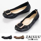 ZALULU愛鞋館 Z1001 真皮蝴蝶結扣環小方頭娃娃鞋-經典黑-黑色/咖啡-35-40