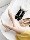 高跟鞋女粗跟秋季新款百搭秋鞋秋款方頭奶奶鞋軟皮中跟單鞋  夏季上新