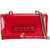 VALENTINO CHAIN 鉚釘肩背/手拿晚宴包(紅色) 1430051-54