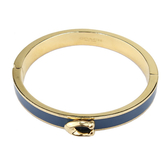 COACH C LOGO 磁扣拼色金屬手環(金色/藍)