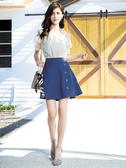 春裝上市[H2O]前裝飾釦波浪短裙(內裏褲裡) - 深藍/粉/淺藍色 #0672011
