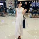 夏季新品中腰圓領純色雪紡無袖時尚連身裙長裙+吊帶