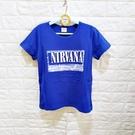 棒棒糖童裝(A50878)夏男大童寶藍色英文短袖上衣 17-25