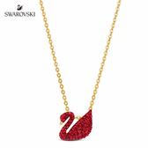 施華洛世奇 Iconic Swan 淡金色紅天鵝項鍊細碼