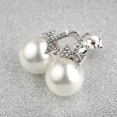 耳環 925純銀鑲鑽-亮眼珍珠生日情人節禮物女耳針73gt219【時尚巴黎】