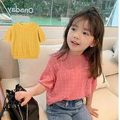 女童上衣 針織簍空T恤韓版女孩上衣 女童洞洞裝 女童簍空罩衫 88668