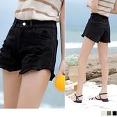 《BA5624-》高含棉刷破純色個性美型短褲 OB嚴選