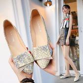 樂福豆豆鞋韓版春夏季新款尖頭平底鞋女單鞋平跟淺口四季鞋簡約拼色女鞋 喵小姐