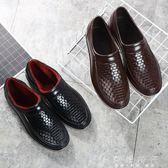 雨鞋男冬季加絨低幫短筒防滑防滑防水耐磨塑膠鞋     歐韓時代