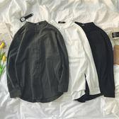 方少韓版男裝2018秋季純色立領青年長袖襯衫韓版男士休閒襯衣外套 免運直出 交換禮物
