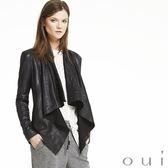 oui 德國品牌 100%真皮垂領皮衣外套 (中大尺碼)