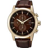 CITIZEN 星辰 Eco-Drive 光動能現代計時碼錶-棕/43mm CA0612-14X