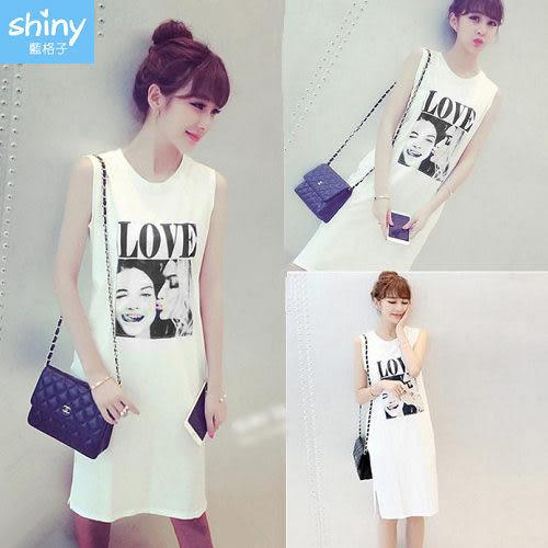【V2273-1】shiny藍格子-瑕疵特賣.LOVE圓領無袖背心連身裙
