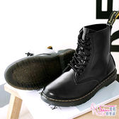 中筒靴.預購.率性俐落休閒舒適楦頭車縫線耐穿機車靴 中筒靴.黑【鞋鞋俱樂部】【054-N026】