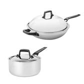 (組)316複合不鏽鋼單耳單柄炒鍋32cm+316複合不鏽鋼單柄湯鍋18cm