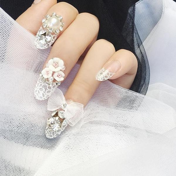 光療感指甲油白色蕾絲白紗磁花蝴蝶結成品美甲假指甲貼片 手指甲片 新娘美甲配外套皮衣風衣