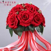 新年鉅惠 新娘結婚手捧花仿真玫瑰中式婚禮創意花球伴娘婚紗照攝影道具花紅