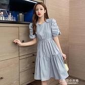 短洋裝 夏季新款法式復古中長款大擺裙氣質繫帶收腰顯瘦短洋裝女潮  【快速出貨】