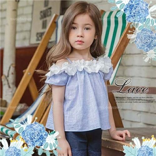 清夏海洋藍白條紋緹花領口短袖上衣(290189)【水娃娃時尚童裝】