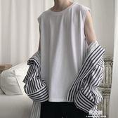 夏季潮男士寬鬆純白色坎肩背心運動無袖t恤男韓版   易家樂