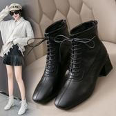 馬丁靴女潮年秋冬季新款ins靴子瘦瘦靴單靴粗跟高跟短靴百搭