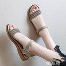 平底涼鞋 水鉆一鞋兩穿涼鞋女仙女風夏季新款學生百搭草編平底沙灘涼拖 韓菲兒