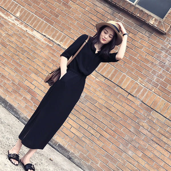 【現貨14】甜美氣質V領雪紡長裙 側開叉縮腰連身長裙洋裝 L~黑色