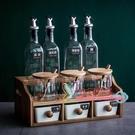 調味瓶 北歐風格調味罐調料盒套裝家用陶瓷油瓶壺鹽罐玻璃廚房用品置物架 4色