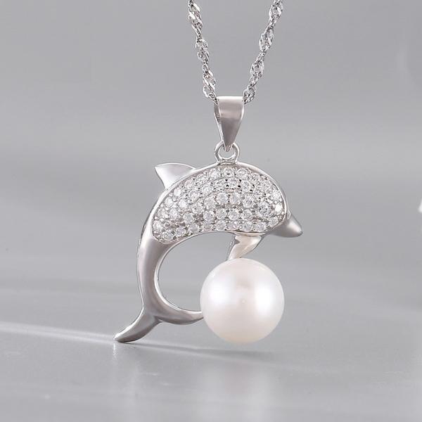 珍珠項鍊 9.5mm-生日情人節禮物鑲鑽海豚女飾品53pe40【巴黎精品】