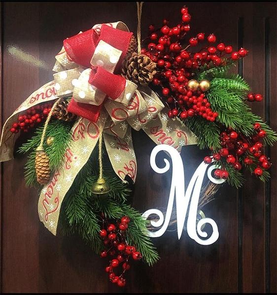 聖誕 圣誕裝飾品 木質藤編花環美式圣誕球花圈民宿酒店櫥窗蝴蝶結門掛 南風小鋪