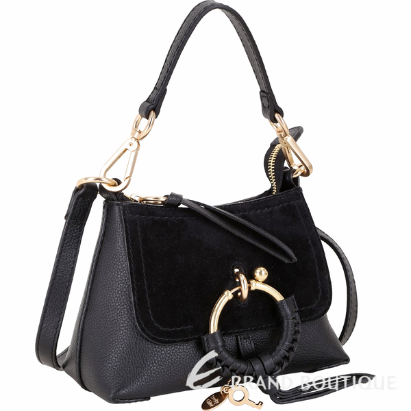 SEE BY CHLOE Joan 迷你款 編織金屬環拼接皮革手提肩背包(黑色) 1840186-01
