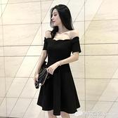 無袖洋裝 無袖一字肩洋裝夏季女神范小心機露肩修身黑色裙子性感氣質韓版 檸檬衣舍