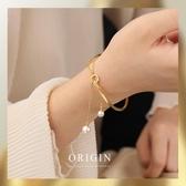 Origin小眾設計 14K包金鍍金赫拉雙珍珠手環冷淡chic手環手鐲女  免運快速出貨
