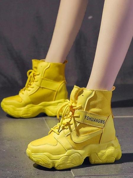 帆布厚底馬丁靴超火英倫風短靴網紅透氣夏高幫內增高女鞋 淇朵市集