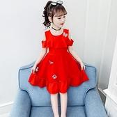 兒童裙子夏裝2021新款木耳邊雪紡中大童網紅韓版洋裝女寶寶夏裙 幸福第一站