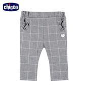 chicco-可愛動物系列-法蘭絨格紋長褲-灰