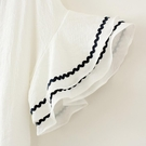 棉麻喇叭袖短袖女寬鬆文藝V領顯瘦半截袖...