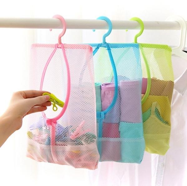 可掛式曬衣夾收納網袋 內衣內褲襪子晾曬袋 廚房浴室多用透氣掛袋 隨機出貨 【H00885】
