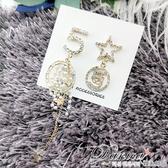 韓國女神氣質浪漫跑趴小香風5字星星珍珠不對稱925銀針流蘇耳環 S93546 批發價 Danica 韓系飾品