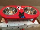 寵物盆狗碗貓雙碗木架狗盆貓盆寵物餐具【步行者戶外生活館】