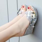 厚底拖鞋 涼拖鞋女夏2019新款室外韓版坡跟時尚外穿厚底增高百搭外出女涼鞋 歐歐