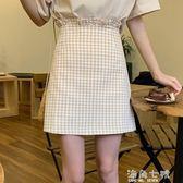 夏天 荷葉邊裙子格子百搭半身裙高腰顯瘦女A 字裙短裙海角七號
