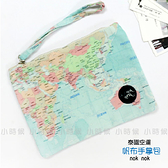 ☆小時候創意屋☆ 泰國品牌 nok nok 地圖 帆布 手拿包 曼谷包 手挽包 手機包 零錢包 化妝包 BKK包