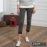 【JEEP】女裝 復古休閒口袋束口牛仔長褲 (灰)